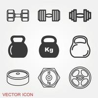 Dumbbell Gym Icons Set vector