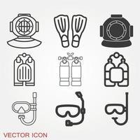 conjunto de iconos de buceo vector