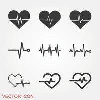 Heartbeat Icons Set vector