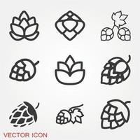Hop Icons Set vector