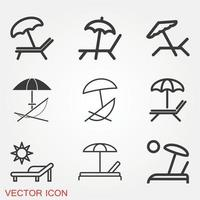 Chaise Lounge Icons Set vector