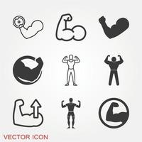 Muscle Icons Set vector