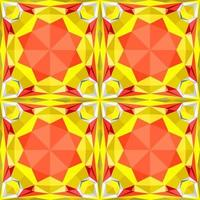 This is a polygonal yellow and red crystal kaleidoscope pattern vector