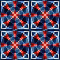 Este es un patrón poligonal de caleidoscopio de cristal azul y rojo en forma de piedra preciosa. vector