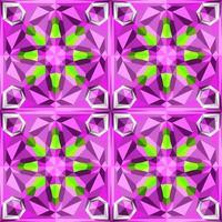 Este es un patrón poligonal de caleidoscopio de cristal verde y morado en forma de flor. vector