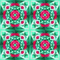 Este es un patrón poligonal de caleidoscopio de cristal verde y púrpura en forma de flor violeta. vector