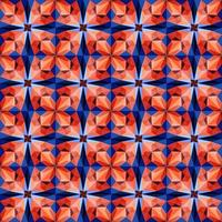 Este es un patrón de caleidoscopio de cristal azul y rojo poligonal en forma de flor. vector