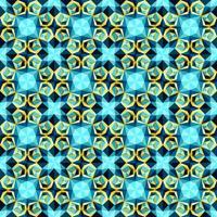 Este es un patrón de caleidoscopio árabe poligonal de cristal amarillo y azul. vector