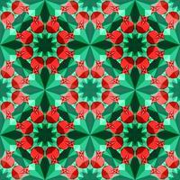 This is a polygonal green and red crystal kaleidoscope pattern in the form of a pomegranate vector