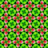 This is a polygonal green and pink floral crystal kaleidoscope pattern vector
