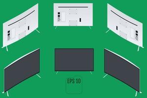 monitor de computadora curvo isométrico tv curvada vector