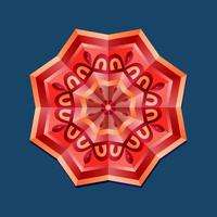 This is a red geometric polygonal mandala with an oriental floral pattern vector