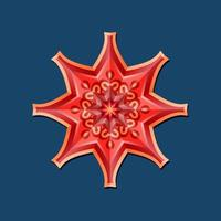This is a red geometric polygonal mandala in the form of a star with an oriental floral pattern vector