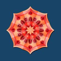 This is a red geometric polygonal mandala with a floral pattern vector
