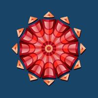 This is a red composite geometric polygonal mandala with an oriental floral pattern vector
