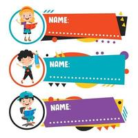 Name Tags For School Children vector