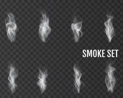 Realistic smoke icon set vector