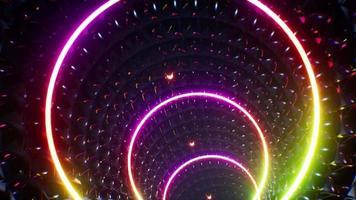 Túnel de luz en relieve de arco iris 4k video