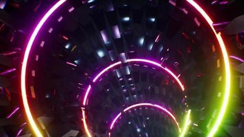 bucle de túnel de metal de lámpara de arco iris de neón 4k video