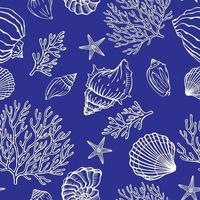 Seamless pattern with seashells corals and starfishes Marine background vector