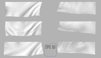 White textile banner with folds template vector