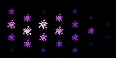 Dark purple, pink vector backdrop with virus symbols.