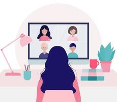 Young Woman Doing Video Conference with Colleagues Illustration vector