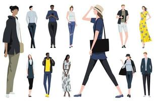 Fashionable People Vector Flat Illustration Set Isolated On A White Background