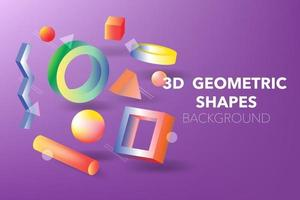 3D Geometric Shapes background vector