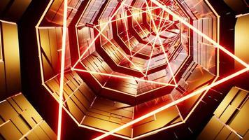 faisceau laser triangle tunnel doré 4k video