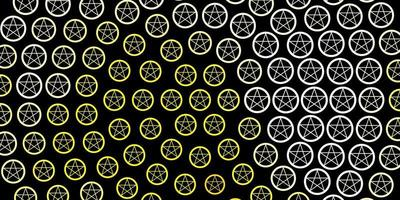 textura de vector rojo oscuro, amarillo con símbolos religiosos.