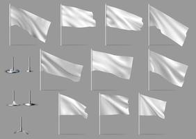 Mockups of white flags Vector