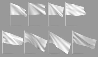 Waving blank flag on flagpole vector