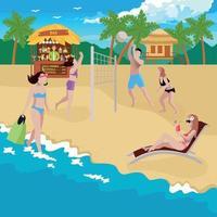 Coastline Sports Recreation Background Vector Illustration