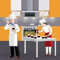 Flat Cooking people In Restaurant Composition Vector Illustration