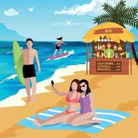 Holidays At Seaside Background Vector Illustration