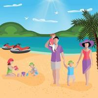 Family Rest In Lagoon Composition Vector Illustration