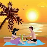 Romantic Beach Date Background Vector Illustration