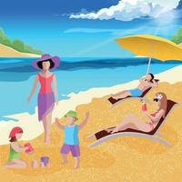 Coastal Paradise Beach Composition Vector Illustration