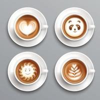 Latte Coffee Art Set Vector Illustration