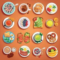 platos de desayuno, naranja, conjunto, vector, ilustración vector