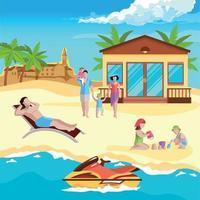 Sea Resort Recreation Background Vector Illustration