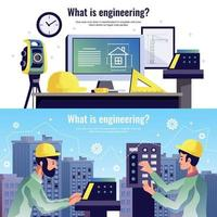 Engineering Horizontal Banners Vector Illustration