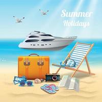 Summer Holidays Realistic Beautiful Composition Vector Illustration