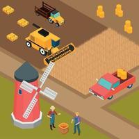 Farm Isometric Background Vector Illustration