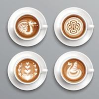Latte Coffee Set Vector Illustration