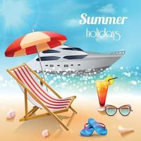 Realistic Summer Holidays Composition Vector Illustration