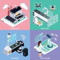 Ilustración de vector de concepto de diseño de industria inteligente