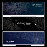 Realistic Spider Web Cobweb Banners Vector Illustration
