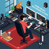 Project Studio Isometric Composition Vector Illustration